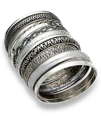 Bar III Set of 13 Silver-Tone Multi Bangle Bracelets