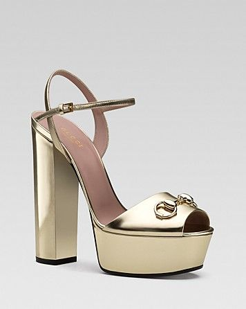 Gucci Claudie Patent Ankle Strap Chunky High Heels