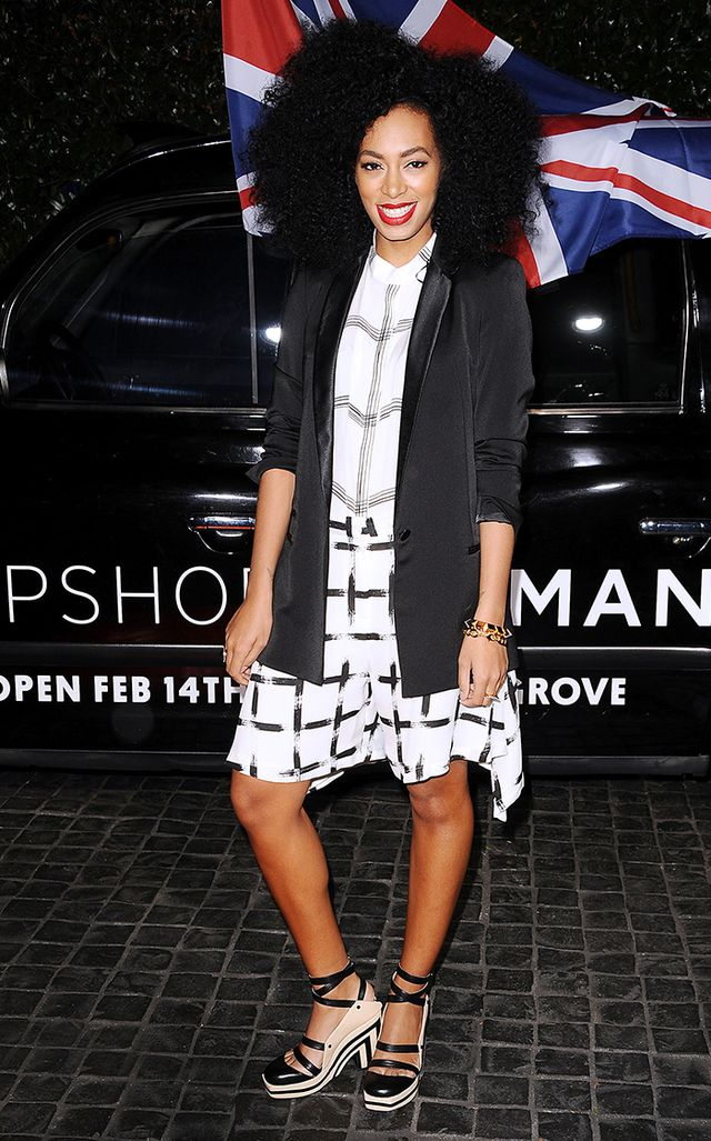 The singer showed her love for mixing checker prints in Topshop at the U.K. brand's grand opening in Los Angeles.