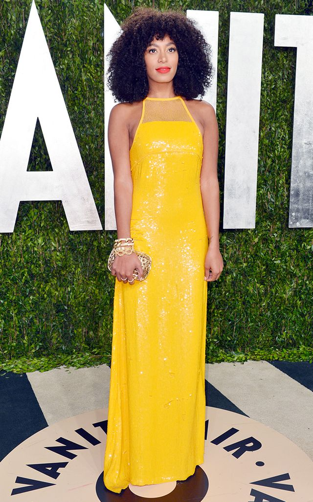 She was beyond statuesque at the 2013 Vanity Fair Oscars party in a glittering Emilio Pucci column in a vivid yellow.