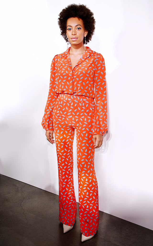 For the Intermix 20th anniversary celebration, Knowles made Diane von Furstenberg proud by wearing this off-the-runway jumpsuit from the designer's F/W 2013 collection.