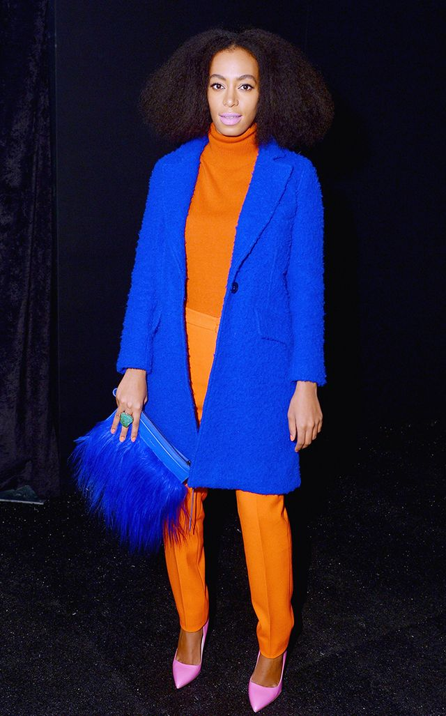 Knowles proves that whoever said you can't mix pink and orange was dead wrong. This Milly by Michelle Smith outfit is a perfect combination of primary colors.