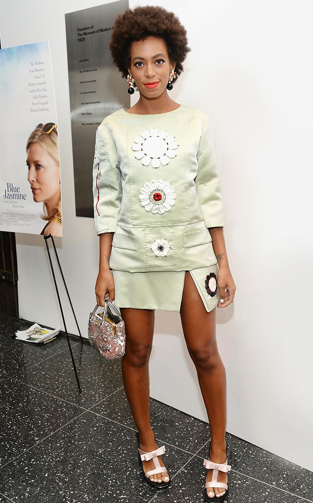 For the New York premiere of Woody Allen flick Blue Jasmine, Knowles hopped on the trendy oversized flower trend in an off-the-runway look from Prada's S/S 2013 collection.