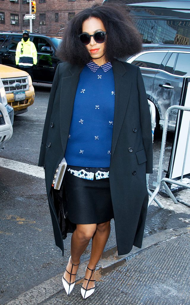 Knowles put all the street style stars to shame in this well-manicured Noon by Noor look from New York Fashion Week F/W 2014.