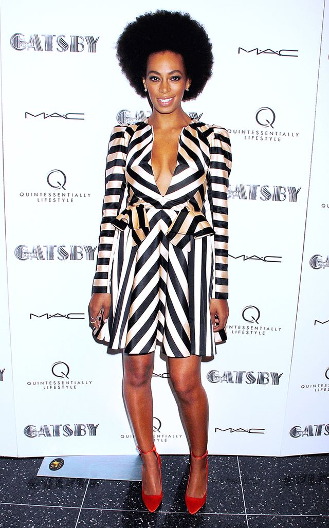 Knowles made a super graphic statement in this striped Jill Stuart dress at the New York premiere of The Great Gatsby.
