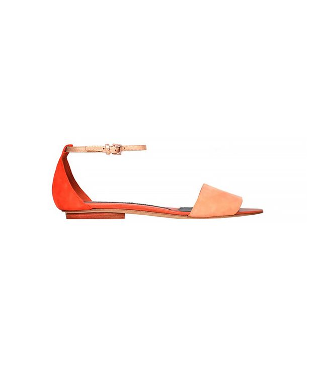 Narciso Rodriguez Peach + Coral One Banded Flats