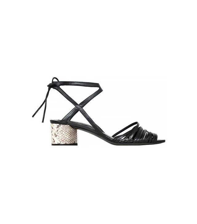 Narciso Rodriguez Python + Nappa Mid Heels Sandals