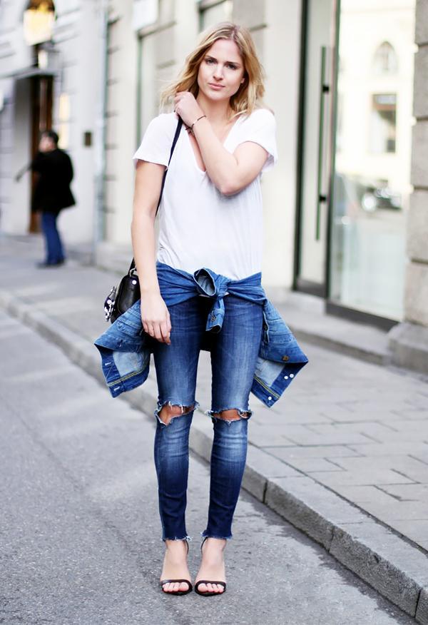 White V-Neck Shirt + Distressed Skinny Jeans