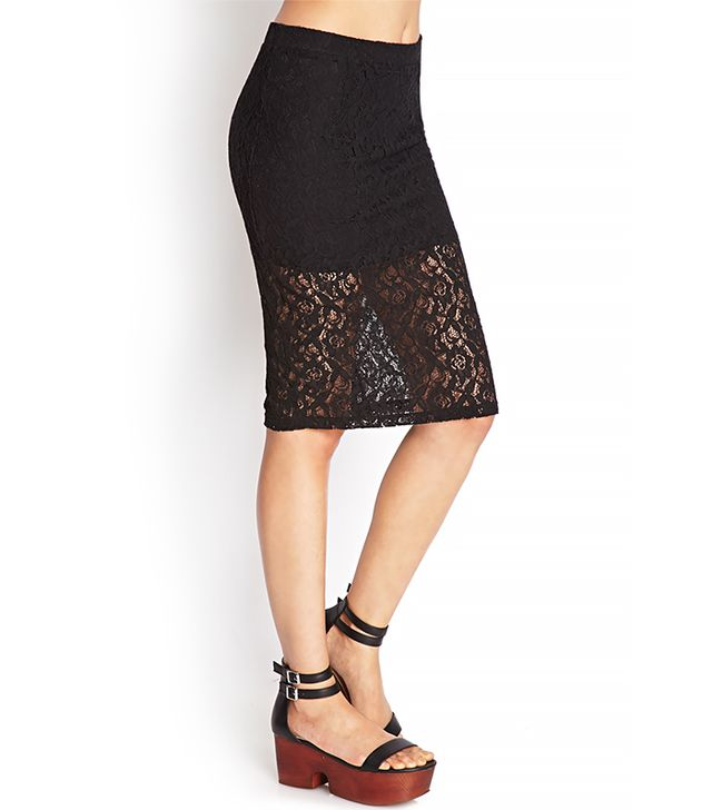 Forever 21 Sheer Lace Pencil Skirt