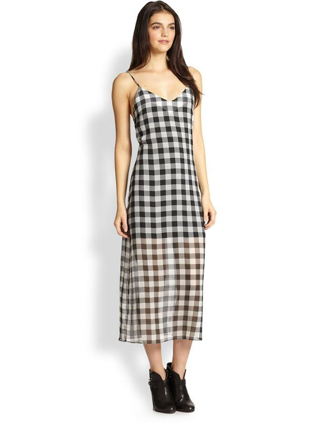 Line & Dot Ellis Sheer-Skirt Gingham Slip Dress