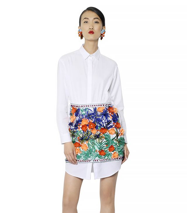 MSGM Embellished Cotton Poplin & Ottoman Dress