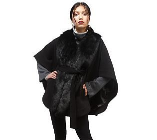 Rachel Zoe Cape with Faux Fur Collar and Removable Belt