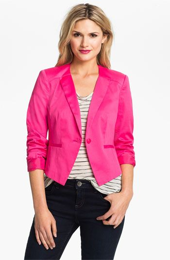 Halogen  Three Quarter Roll Sleeve Blazer