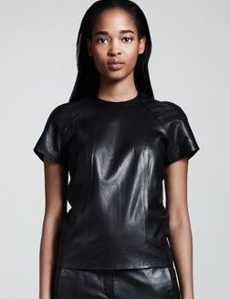 T by Alexander Wang  Leather Back-Zip Tee
