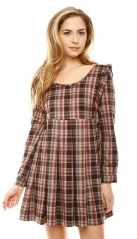 Miss Hoe Criss-Cross Plaid Dress