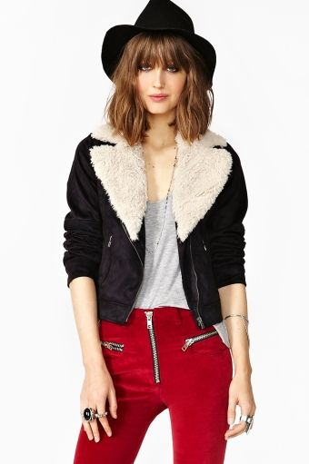 Nasty Gal  Shearling Aviator Jacket
