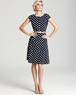 Anne Klein  Cap Sleeve Polka Dot Swing Dress