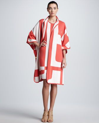 Escada Oversized-Logo Print Cape