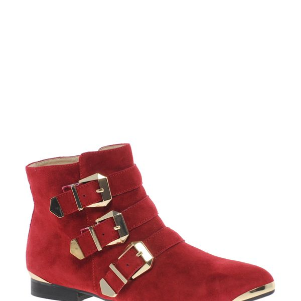 Aldo  Flojoey Red Buckled Ankle Boots