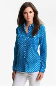 BelleFleur Roll Sleeve Polka Dot Shirt