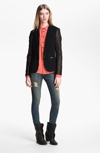 Rag & Bone  Leather Sleeve Moto Blazer