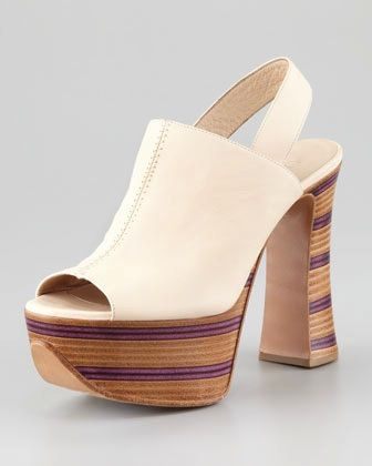 Chloe  Chloe Wooden Stacked Platform Slingbacks