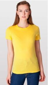 American Apparel Fine Jersey Short Sleeve Women's Tee Shirt in Sunshine