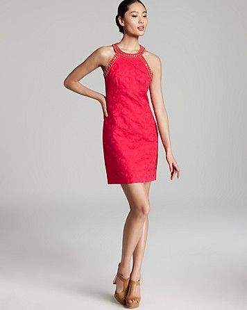Laundry by Shelli Segal  Beaded Neck Jacquard Dress