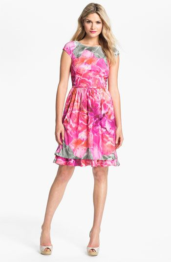 Suzi Chin by Maggy  Boutique Print Fit and Flare Dress