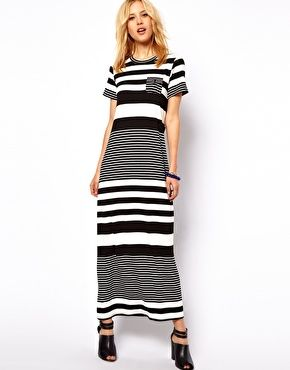 ASOS Maxi Dress In Graduated Stripe Print