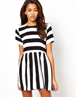Motel Penny Smock Dress With Bold Stripes