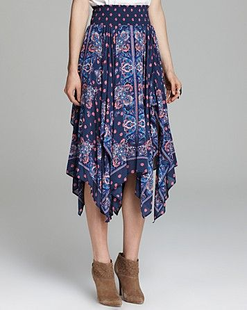 Free People Printed Voile Flyaway Skirt