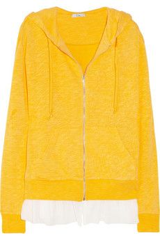 CLU  Terry and Silk-Chiffon Hooded Top