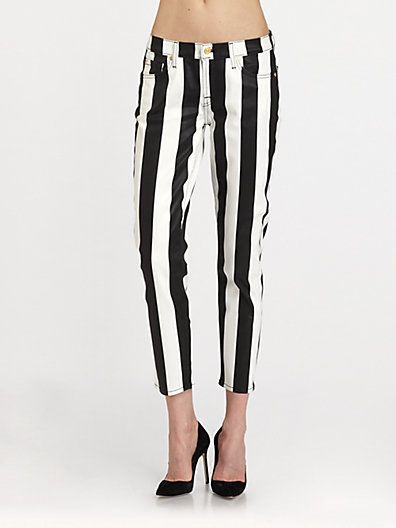 7 For All Mankind Crop Slim Striped Cigarette Jeans