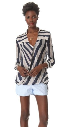 10 Crosby Derek Lam  Striped Surplus Blouse
