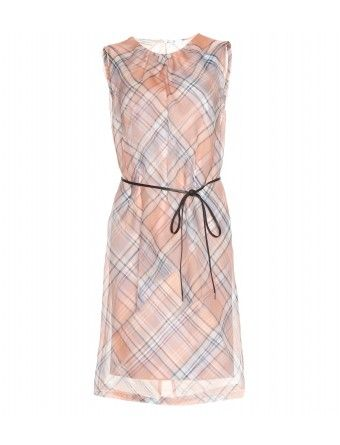 Dries van Noten  Plaid Dress with Sheer Chiffon Overlay