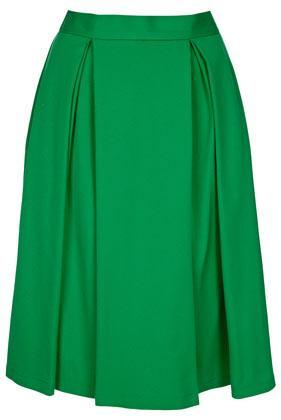Topshop Green Double Pleat Calf Skirt