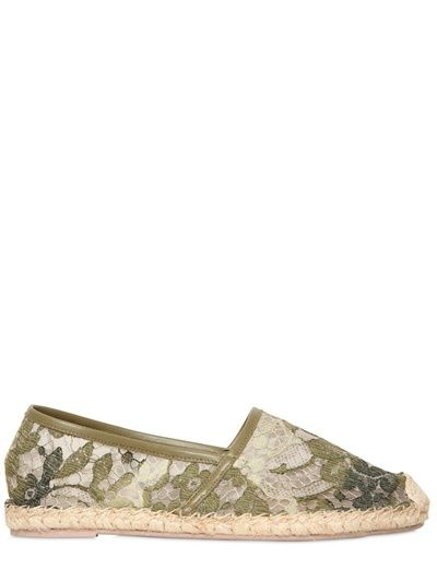 Valentino Camouflage Lace Embroidered Flats