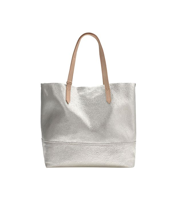J. Crew Downing Tote in Metallic Leather