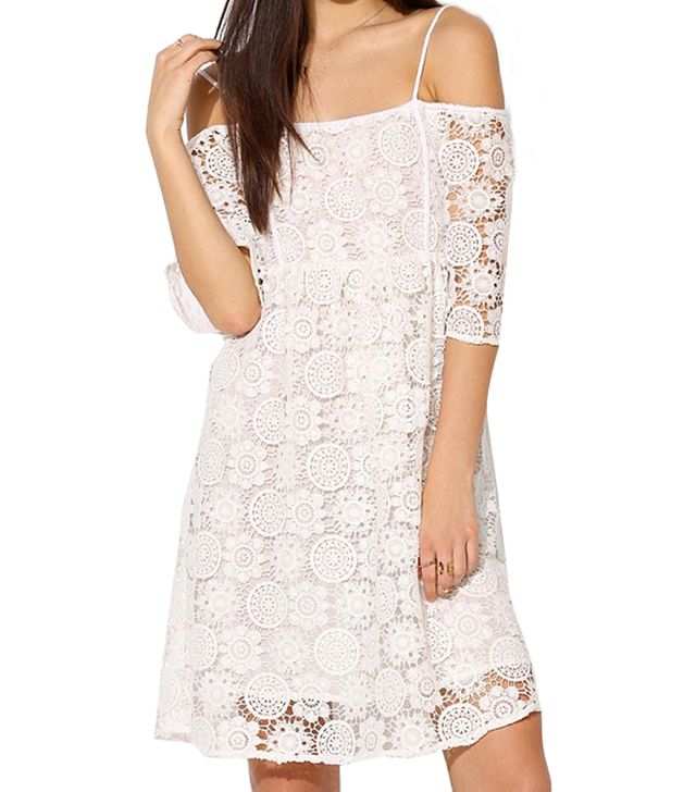 Urban Outfitters Little White Lies Paris Lace Off-The-Shoulder Dress