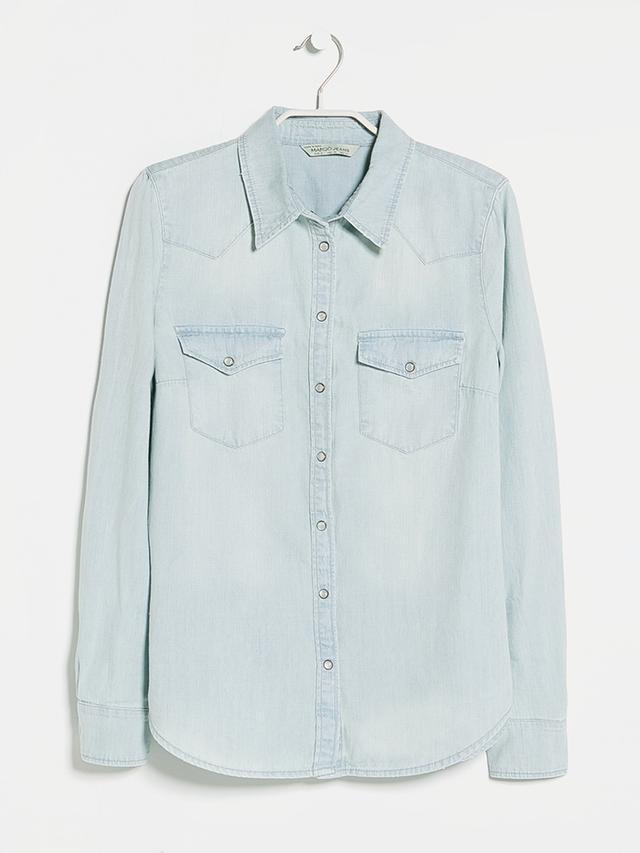 Mango Bleached Wash Denim Shirt