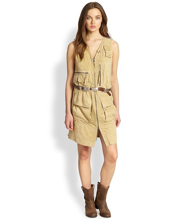 Ralph Lauren Blue Label Leather Gilia Dress