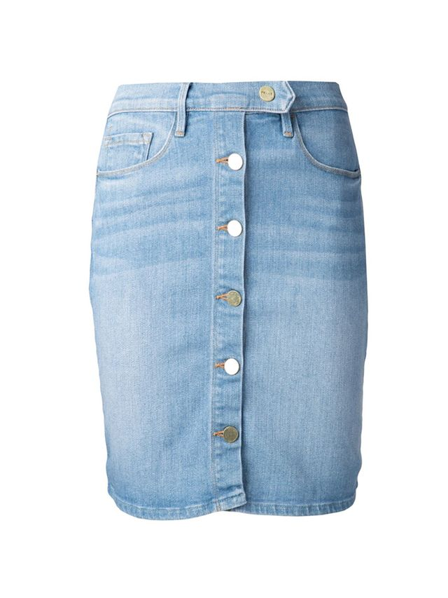 Frame Denim Snap Front Denim Skirt