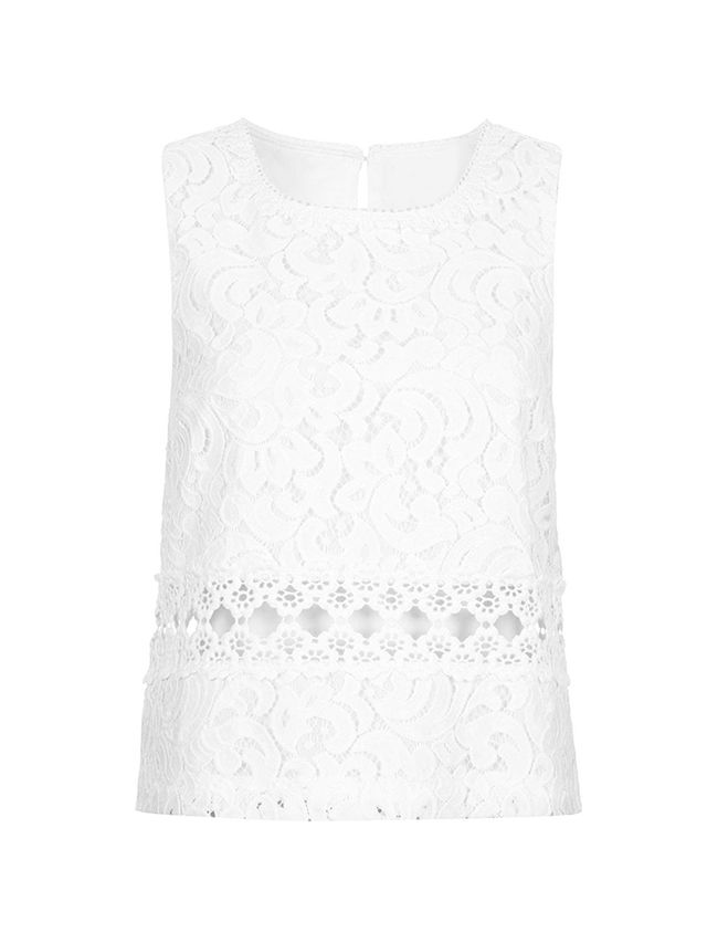 Topshop Crochet Flower Detail Shell Top