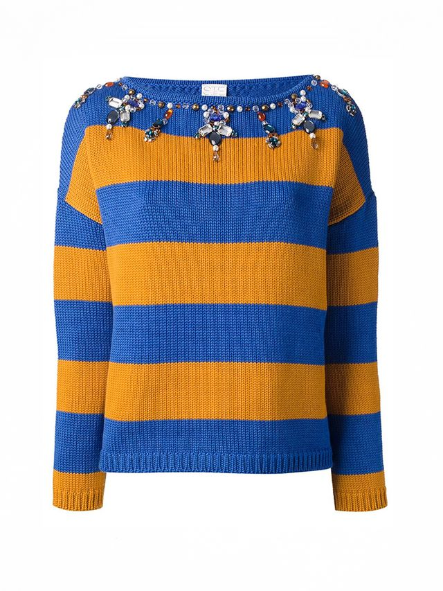 Stella Jean Striped Embellished Sweater