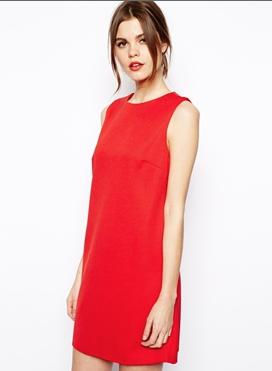 ASOS '60s Shift Dress in Rib Texture