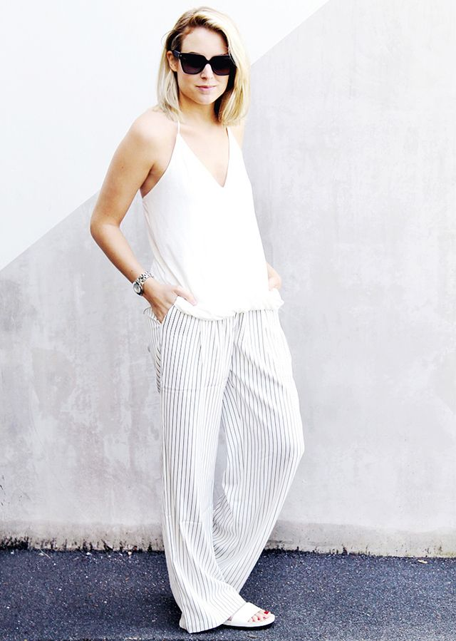 Halter Tank + Pinstripe Pants + Shower Slides