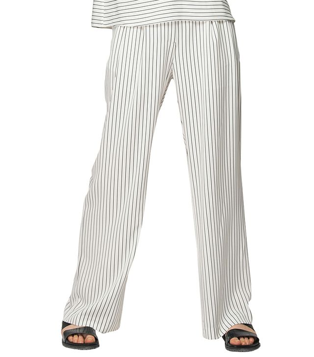 Front Row Shop Wide Leg Trousers In Monochrome Stripes