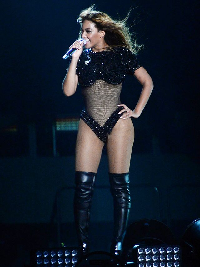A mesh cutout proves that Bey is quite proud of her abdominal region.