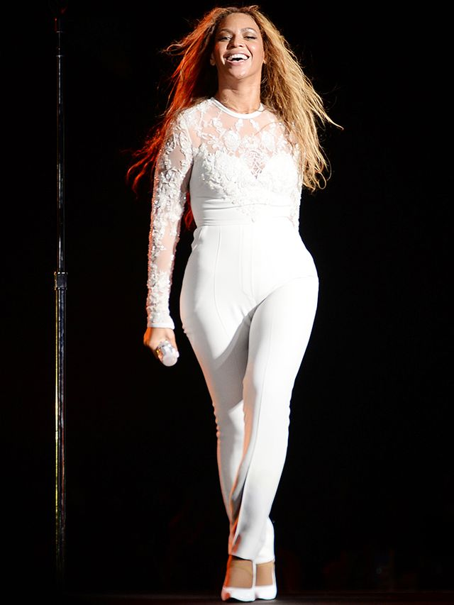 For one section of the show, Beyoncé put on a wedding dress-inspired Elie Saab bodysuit.